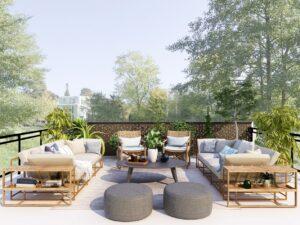 Salon d'extérieur sur toit terrasse